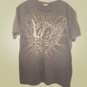 Miami Ink Black Skull King Art Tee L